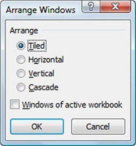 Selecione o desejado Organizar definição na caixa de diálogo Dispor janelas.