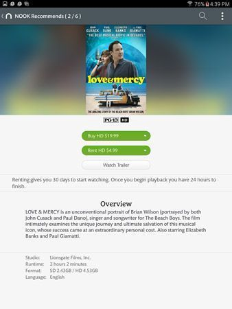 Um filme`s description page on a Galaxy Tab S2 nook.