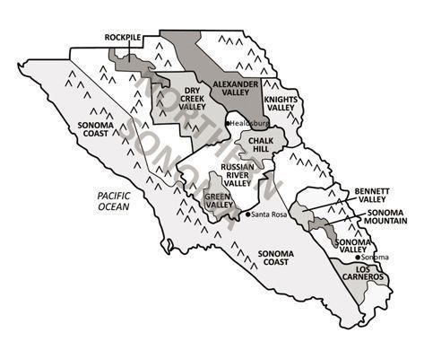 Sonoma County e suas regiões vinícolas.