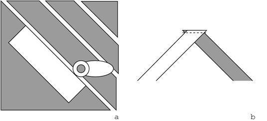 Pode fazer viés cortando tiras sobre uma diagonal (a) e, em seguida, cosendo-juntos (b).