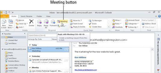 Marcar uma reunião com todos os participantes em um fio de e-mail usando um único botão.
