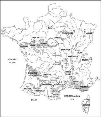 As muitas regiões vinícolas da França.