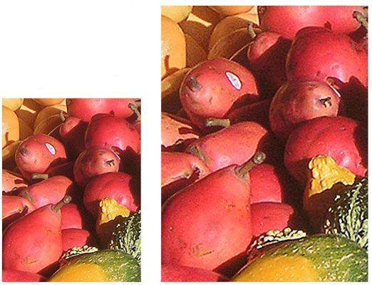 A pequena imagem (à esquerda) tem uma muito maior qualidade de imagem do que a grande imagem (à direita).