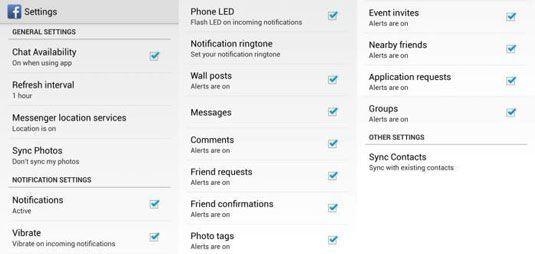 Todas as opções de configuração Facebook para que você pode personalizar.