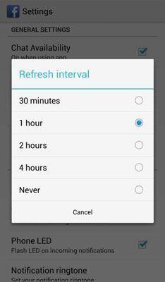 Facebook Messenger serviços de localização intervalo de atualização.