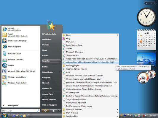 Os Favoritos submenu no menu Iniciar do Windows.