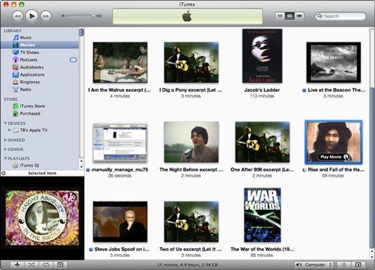Navegar e reproduzir filmes em sua biblioteca do iTunes em vista Grid.