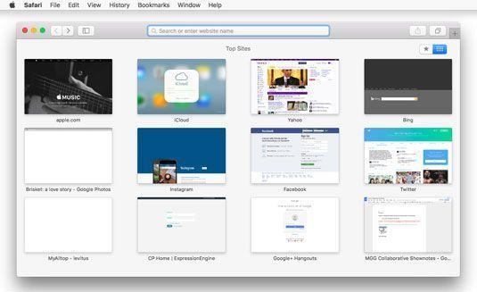 Safari primeira exibe a página Top Sites.