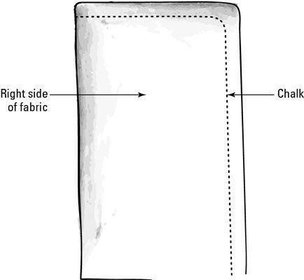 Marcação tecido com giz.