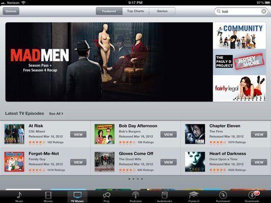 Compra e assistir programas de TV no iPad.