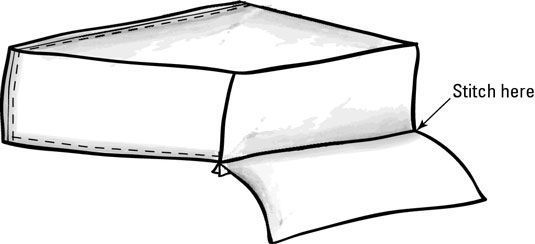 Costura uma aba voltada para a cobertura para móveis.