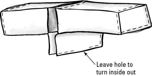Costurar dois tecidos para criar uma slipcover reversível.