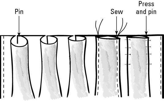Pressionando, prendendo e costurar as pregas de uma cortina.
