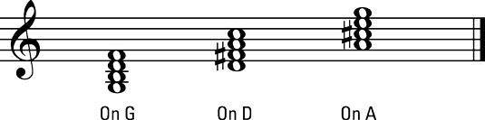 7ths dominante no G, D, e A.