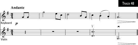"""O fim de de Brahms """"Lullaby"""", acompanhado por um 7o dominante (zzz...)."""