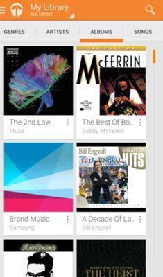 A Biblioteca de Música em um Samsung Galaxy S 5.
