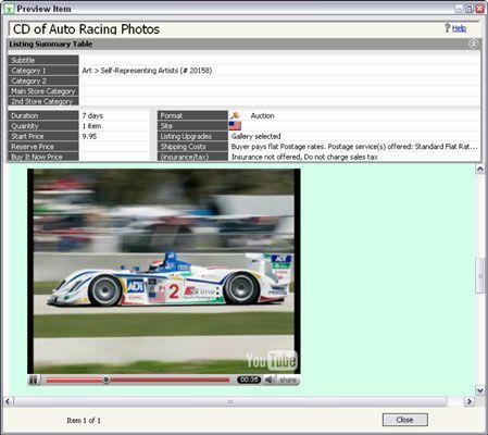 Embutir seu vídeo produto em seu Web site. Aqui, um vídeo do YouTube em um leilão eBay está sendo previe
