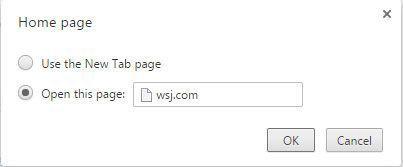 Use esta caixa de diálogo para digitar o endereço web da sua página inicial.