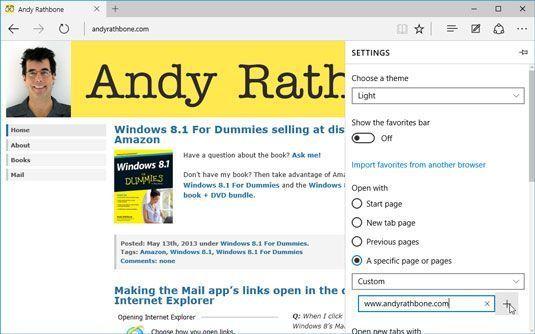 Digite o endereço do seu site favorito, e Microsoft Edge abre para esse site.