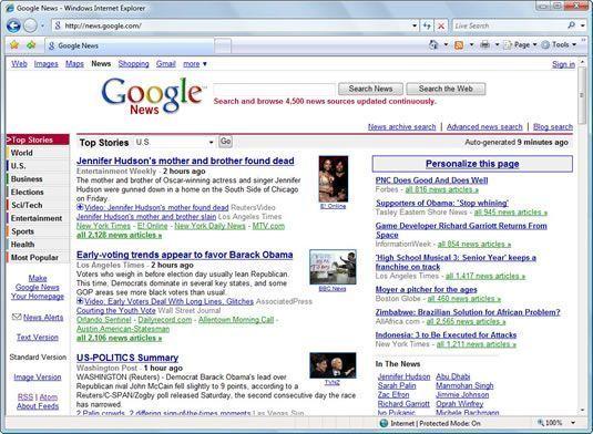 Uma janela aberta no Internet Explorer.