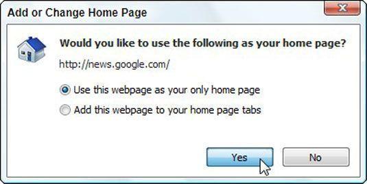 Adicionar ou caixa Alterar home page no Internet Explorer.