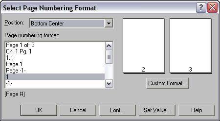 Selecione a caixa de diálogo Formato de numeração de página.
