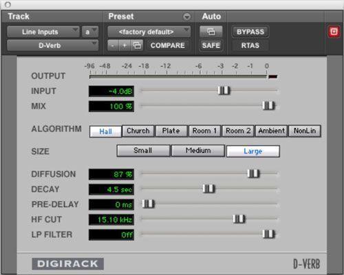 Reverb permite adicionar ambiente para o seu instrumento, dando-lhe um som mais realista.
