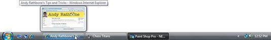 A barra de tarefas do Windows Vista.