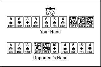 O vencedor recolhe pontos da madeira morta na perdedor`s hand.