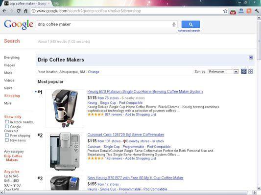 Para aparecer no Google Product Search (chamado de compras na navegação à esquerda), os comerciantes apresentarem as suas