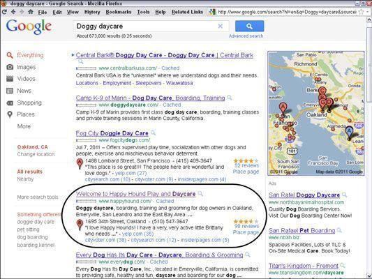Feliz anúncio PPC do Hound em terras do Google em sua home page. [Cortesia do Happy Hound Pla