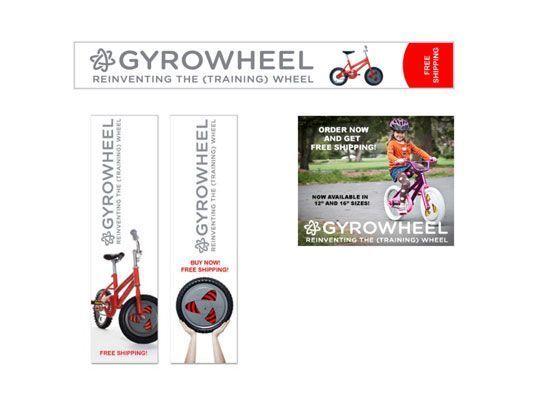 Exemplos de banners utilizados na campanha publicitária on-line para Gyrobike. [Cortesia do Gyrobi