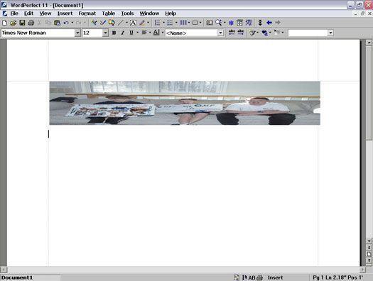 Esticando uma imagem no WordPerfect 11.