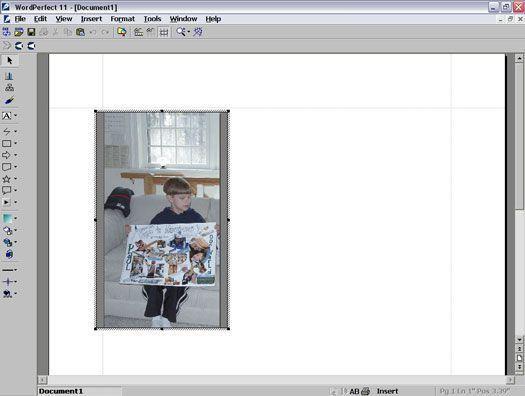 Uma imagem aberta no WordPerfect 11.