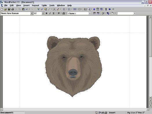 documento do WordPerfect aberto com uma ilustração de um urso`s face.